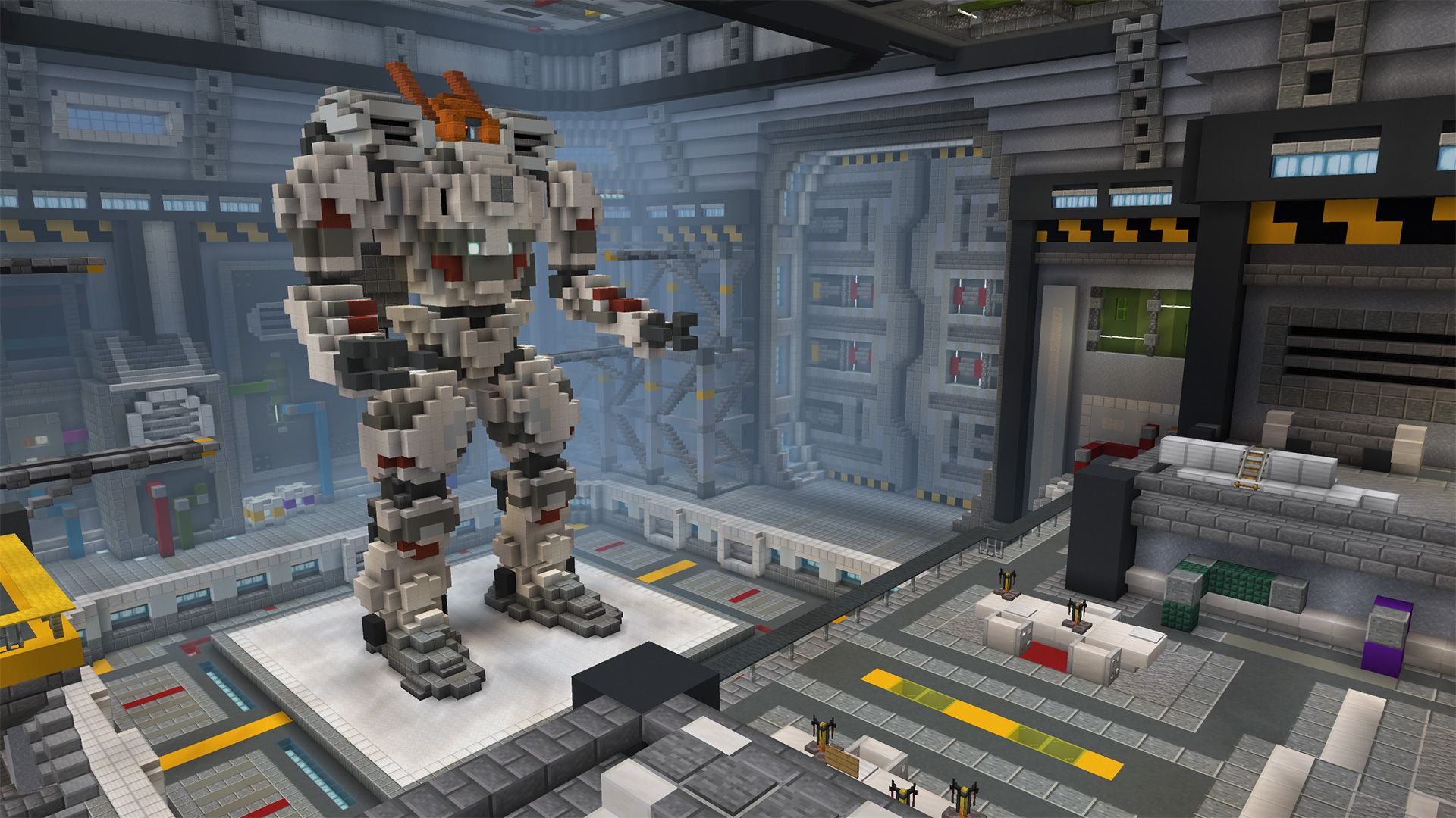 A large robot built out of various blocks in Minecraft.