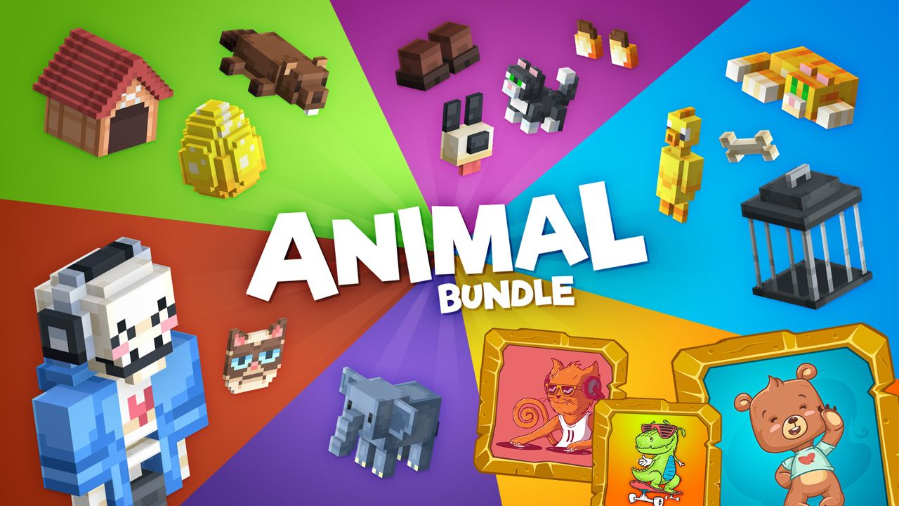 Animal bundle key art, showing off some of the unlocks and avatars. Bright colors segment the image, each section grouping unlocks for once particular product.