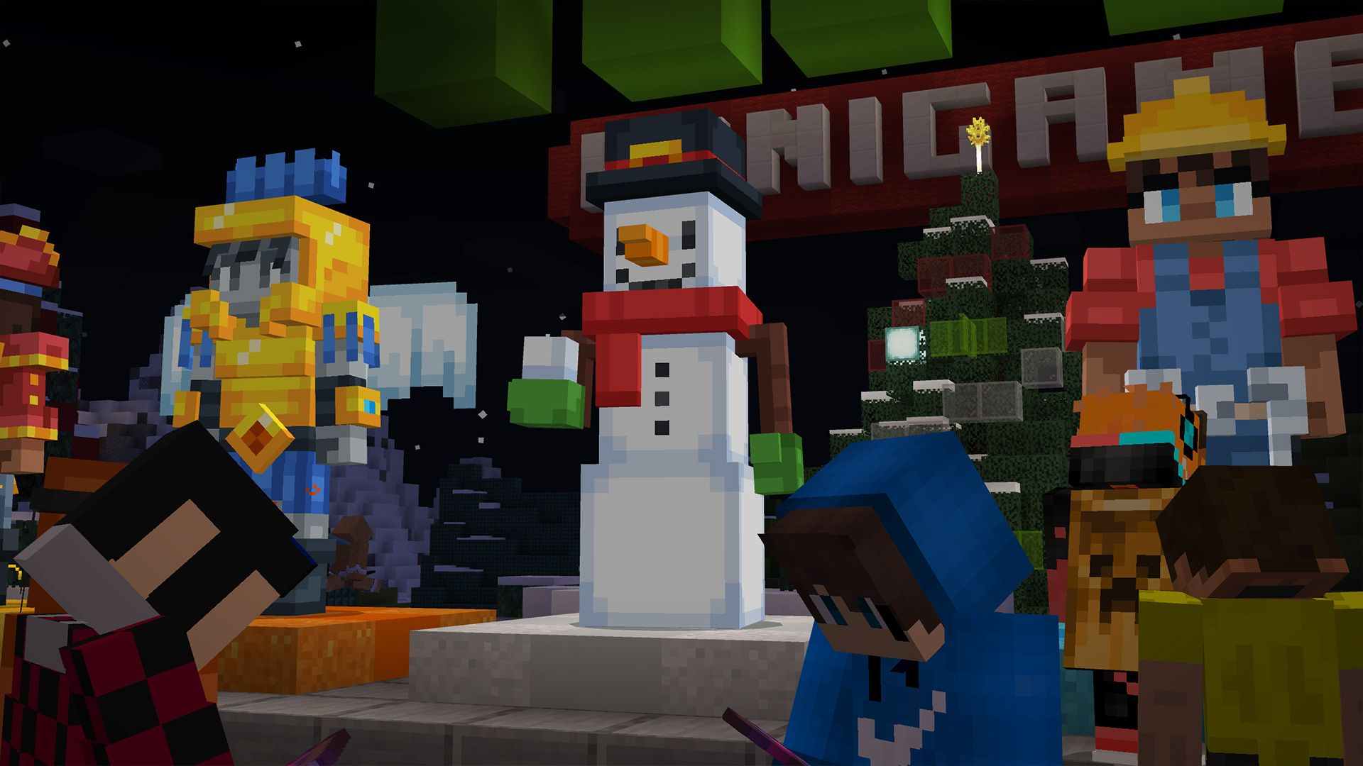 A row of NPCs is seen, with the focus on a new snowman NPC, holding a snowball.